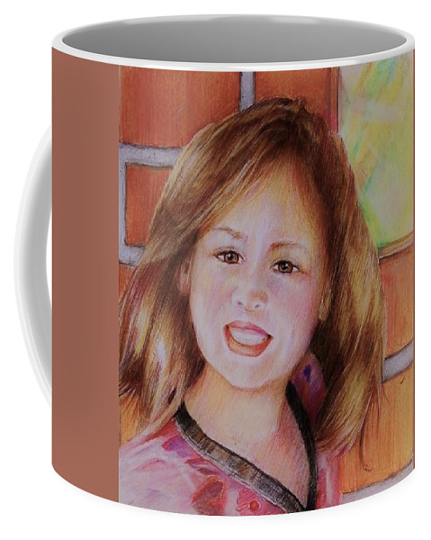 Child Against Brick Wall Coffee Mug featuring the drawing Alayna by Jean Cormier