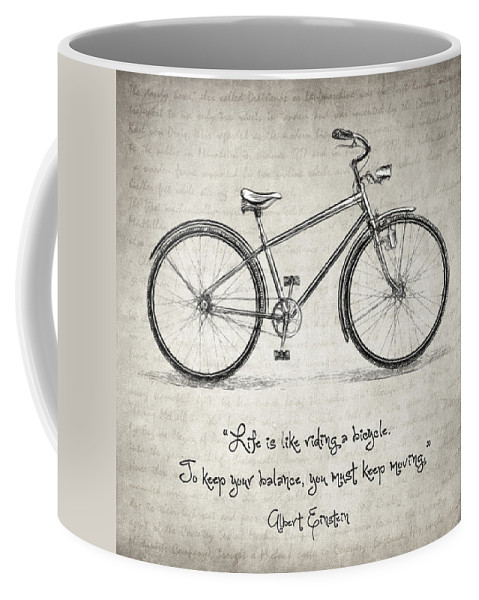 Life Is Like Riding A Bicycle Coffee Mug featuring the drawing Albert Einstein Bicycle Quote by Zapista Zapista