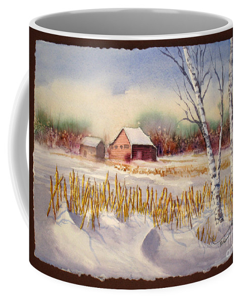 Cabin Coffee Mug featuring the painting Alberta Winter by Mohamed Hirji