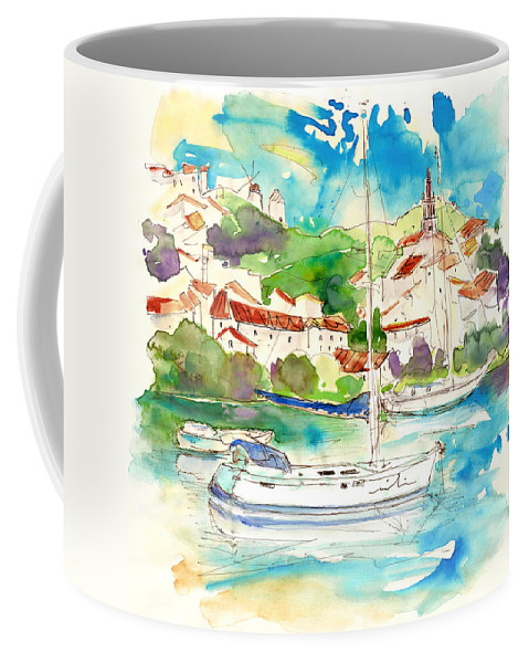 Travel Coffee Mug featuring the painting Alcoutim In Portugal 01 by Miki De Goodaboom