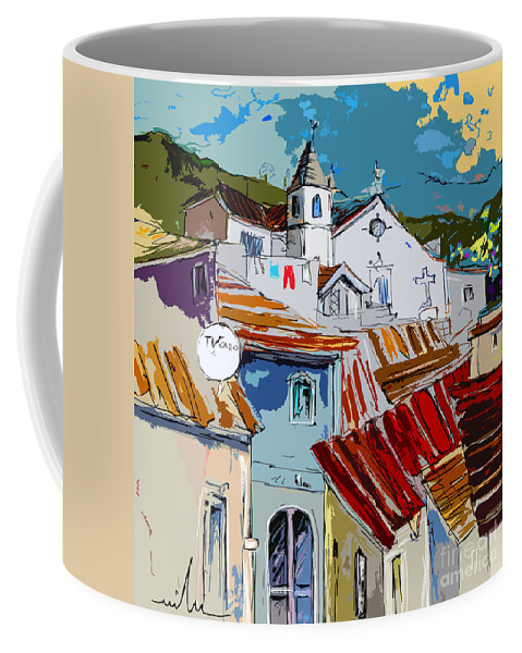Travel Coffee Mug featuring the painting Alcoutim In Portugal 08 Bis by Miki De Goodaboom