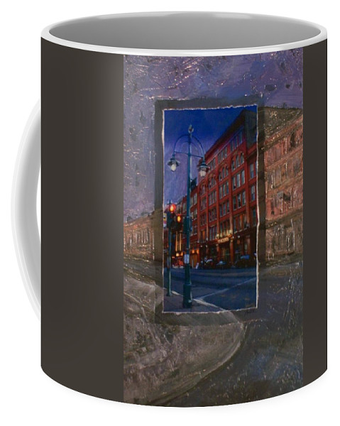 Ale House Coffee Mug featuring the mixed media Ale House And Street Lamp by Anita Burgermeister