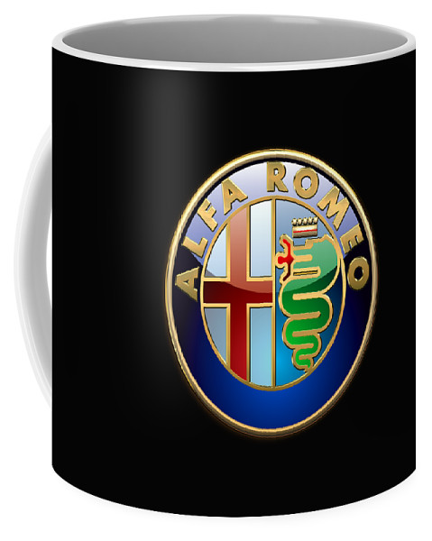 Wheels Of Fortune� Collection By Serge Averbukh Coffee Mug featuring the photograph Alfa Romeo - 3 D Badge On Black by Serge Averbukh