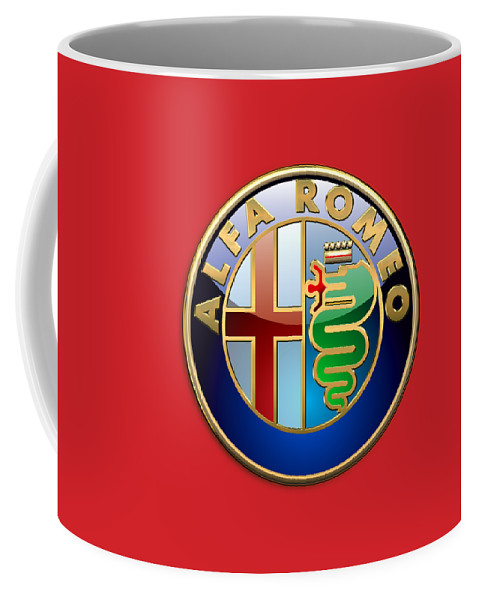 Wheels Of Fortune By Serge Averbukh Coffee Mug featuring the photograph Alfa Romeo - 3d Badge on Red by Serge Averbukh