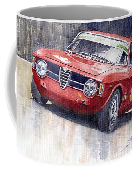 Watercolor Coffee Mug featuring the painting Alfa Romeo Giulie Sprint Gt 1966 by Yuriy Shevchuk