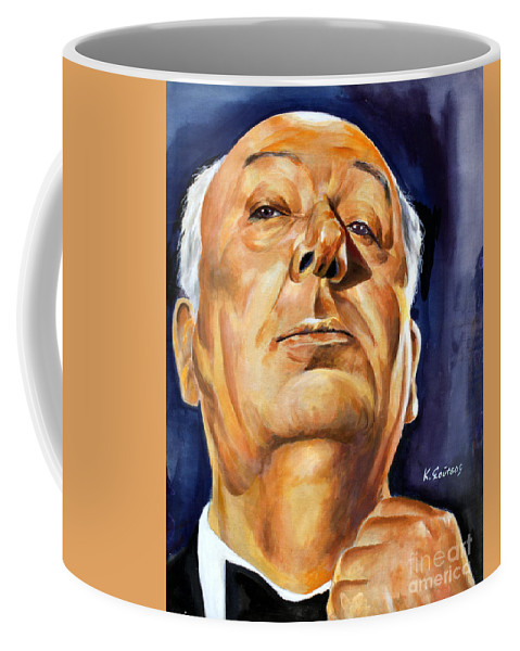 Alfred Hitchcock Coffee Mug featuring the painting Alfred Hitchcock by Star Portraits Art