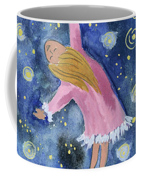 Coffee Mug featuring the painting Alice Flying Inthe Night Sky by Claud Brown