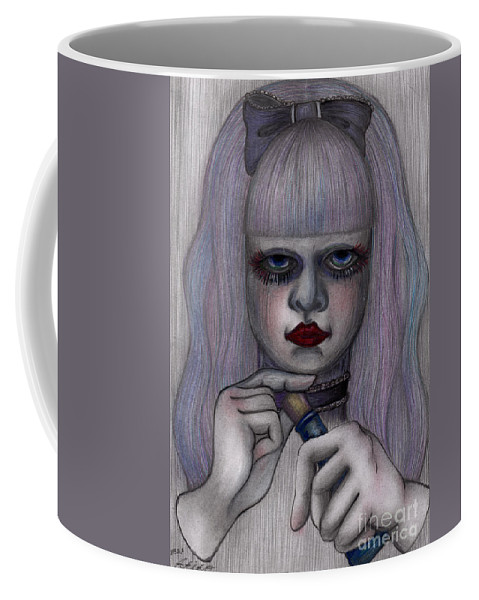 Drawing Prints Coffee Mug featuring the drawing Alice In Another World by Akiko Okabe