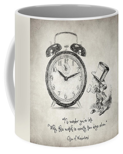 Alice In Wonderland Coffee Mug featuring the drawing Alice In Wonderland Quote by Zapista Zapista