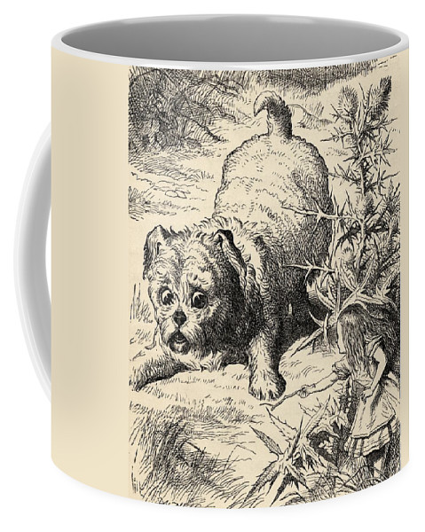 Illustration Coffee Mug featuring the drawing Alice Shrinks And Meets The Puppy by Vintage Design Pics