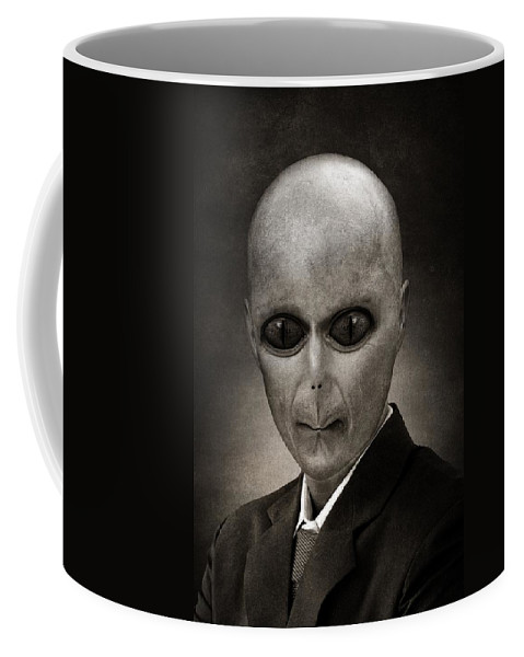 Military Invasion Coffee Mug featuring the painting Alien by FL collection