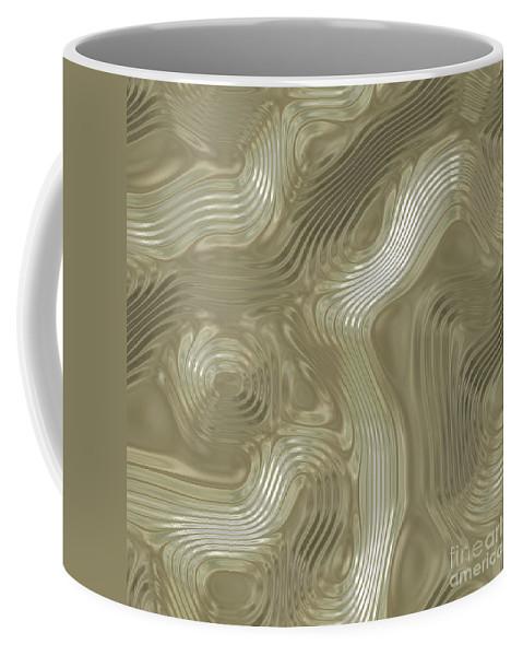 Alien Coffee Mug featuring the digital art Alien Fluid Metal by Miroslav Nemecek