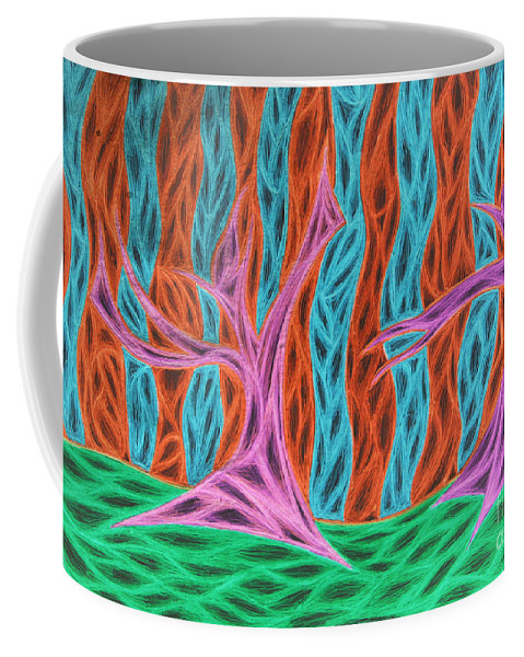 Orange Coffee Mug featuring the digital art Alien Moon Dance by Jamie Lynn