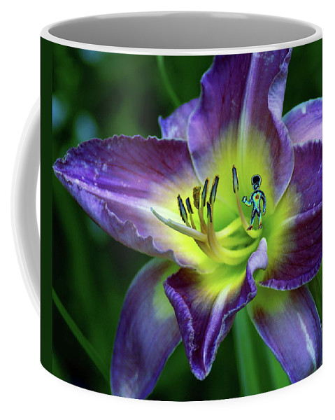 Flower Coffee Mug featuring the photograph Alien On Flower by Ben Upham III