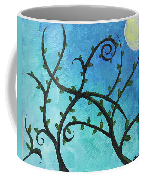 Alien Coffee Mug featuring the painting Alien Planet Blue by Laura Wilson