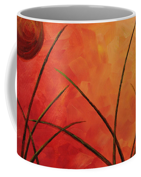 Alien Coffee Mug featuring the painting Alien Planet Orange by Laura Wilson