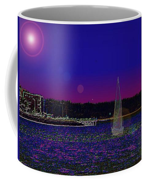 Seattle Coffee Mug featuring the digital art Alki Ghost Sail by Tim Allen