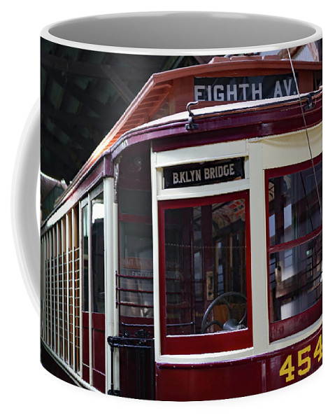 Trolly Coffee Mug featuring the photograph All Aboard For Brooklyn Bridge by Imagery-at- Work