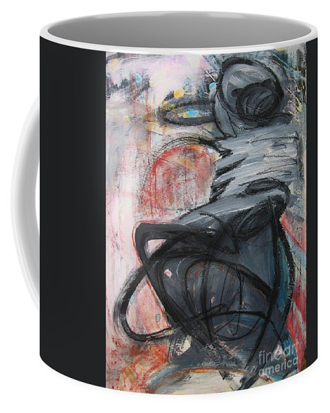 Abstract Paintings Paintings Coffee Mug featuring the painting All Alone by Seon-Jeong Kim
