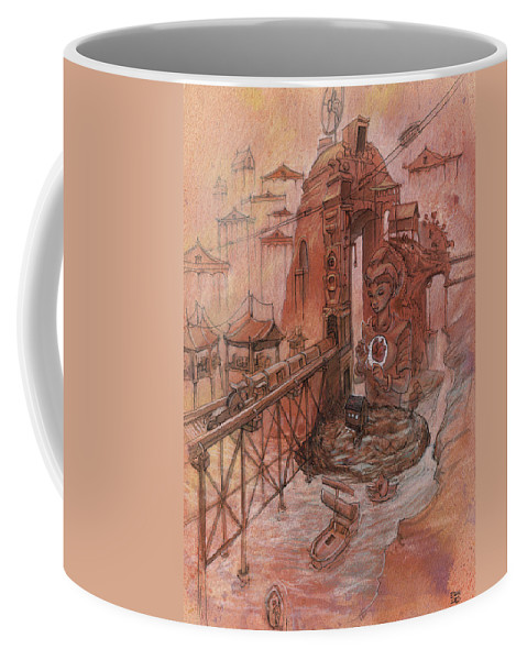 Town Coffee Mug featuring the painting All Along The Distance by Ethan Harris