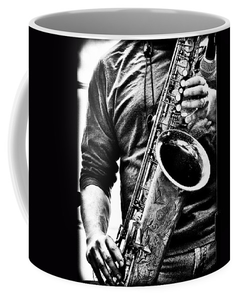 Sax Coffee Mug featuring the photograph All Blues Man With Jazz On The Side by Bob Orsillo