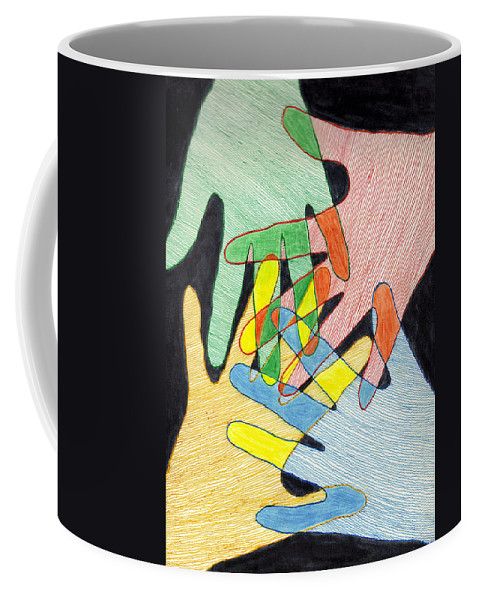 Hands Coffee Mug featuring the mixed media All In by Jean Haynes