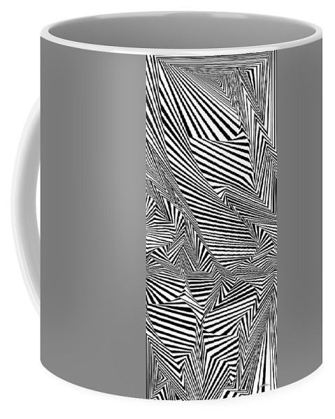 Dynamic Black And White Coffee Mug featuring the painting All In Tents And Purposes by Douglas Christian Larsen