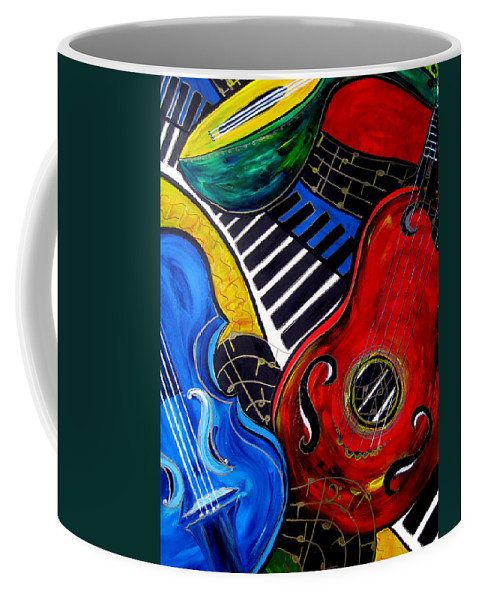 Music Coffee Mug featuring the painting All Jazzed by Cheryl Ehlers