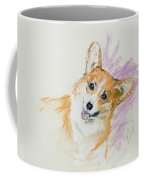 Corgi Coffee Mug featuring the drawing All Smiles by Cori Solomon
