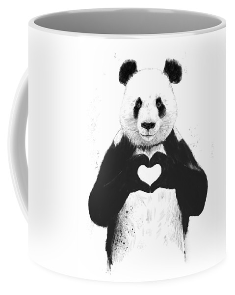 Panda Coffee Mug featuring the mixed media All you need is love by Balazs Solti