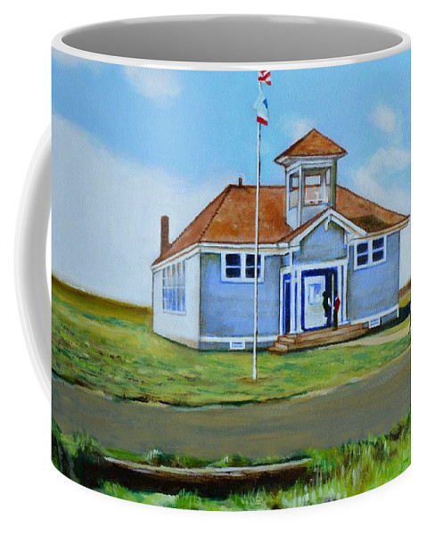 Buildings; School; Landscape; African American Community; Historical State Park; Coffee Mug featuring the painting Allensworth School by Howard Stroman