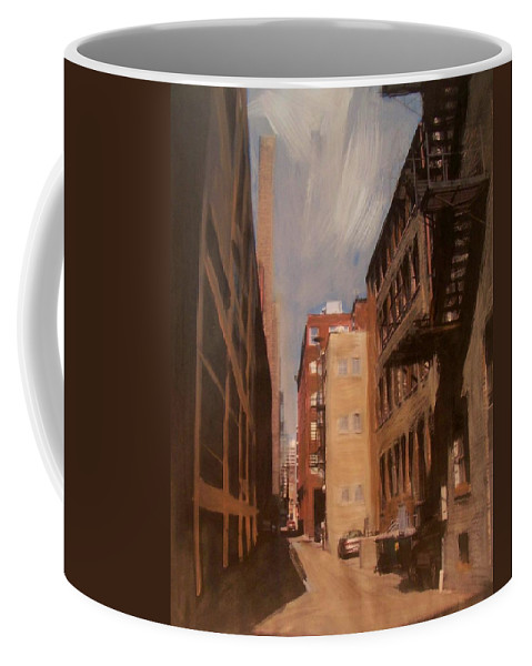 Alley Coffee Mug featuring the mixed media Alley Series 1 by Anita Burgermeister