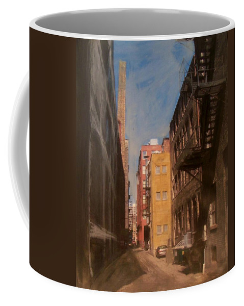 Alley Coffee Mug featuring the mixed media Alley Series 2 by Anita Burgermeister