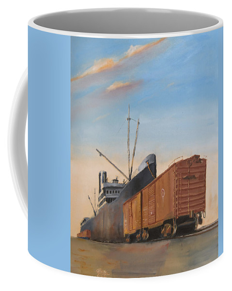 Ship Coffee Mug featuring the painting Allied Orient Lines by Christopher Jenkins