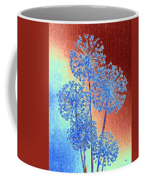 Alliums Coffee Mug featuring the mixed media Alluring Allium Abstract by Will Borden