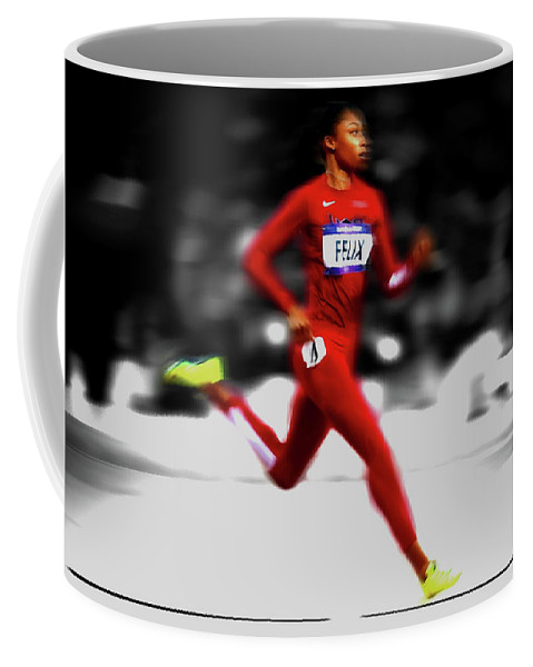 Allyson Felix Coffee Mug featuring the mixed media Allyson Felix Ahead Of The Pack by Brian Reaves