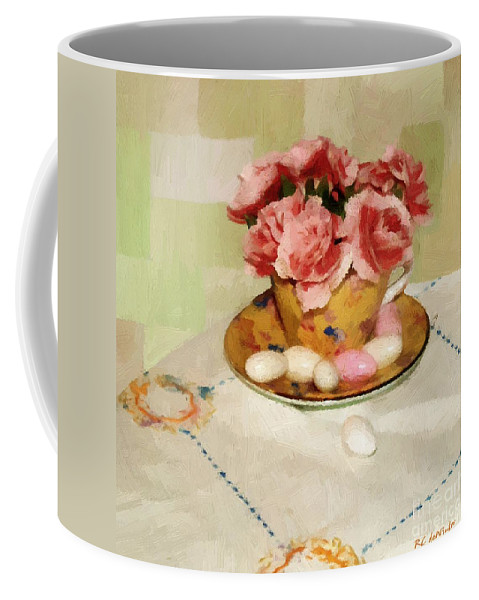 Almonds Coffee Mug featuring the painting Almond Blossom Tea by RC DeWinter