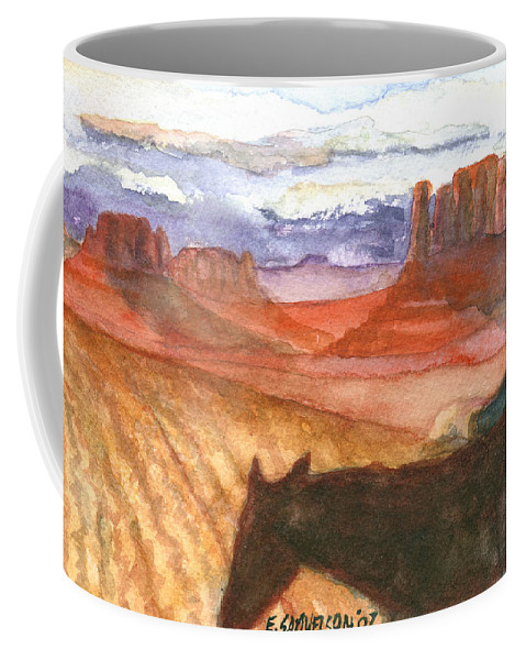 Navajo Coffee Mug featuring the painting Almost Home by Eric Samuelson