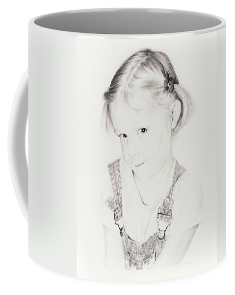 Portrait Coffee Mug featuring the drawing Almost Perfect by Rachel Christine Nowicki