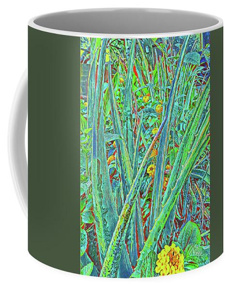 Lantana Coffee Mug featuring the digital art Aloe And Lantana by Teresa Prevey