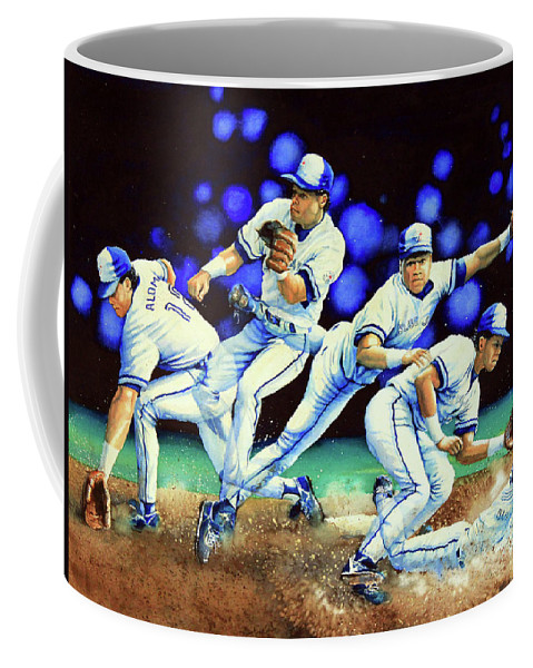Sports Art Coffee Mug featuring the painting Alomar On Second by Hanne Lore Koehler