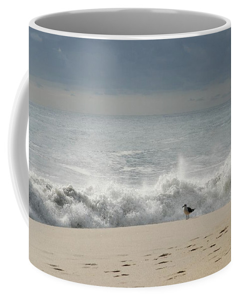 Jersey Shore Coffee Mug featuring the photograph Alone - Jersey Shore by Angie Tirado