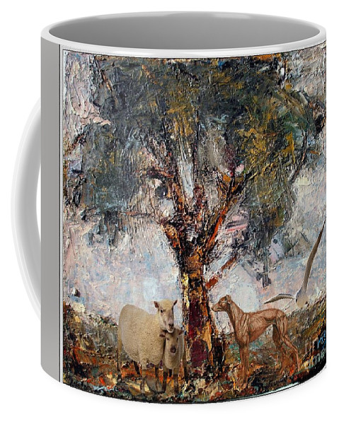 Modern Painting Coffee Mug featuring the mixed media Alone Against Storms 5 by Pemaro