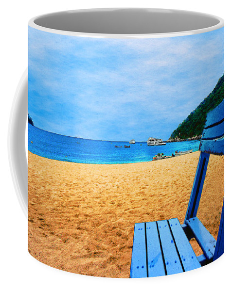 Alone Coffee Mug featuring the photograph Alone And Blue by Paul Wear
