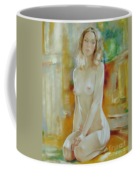 Art Coffee Mug featuring the painting Alone At Home by Sergey Ignatenko