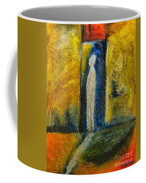 Mixed Media Coffee Mug featuring the mixed media Alone by Dragica Micki Fortuna