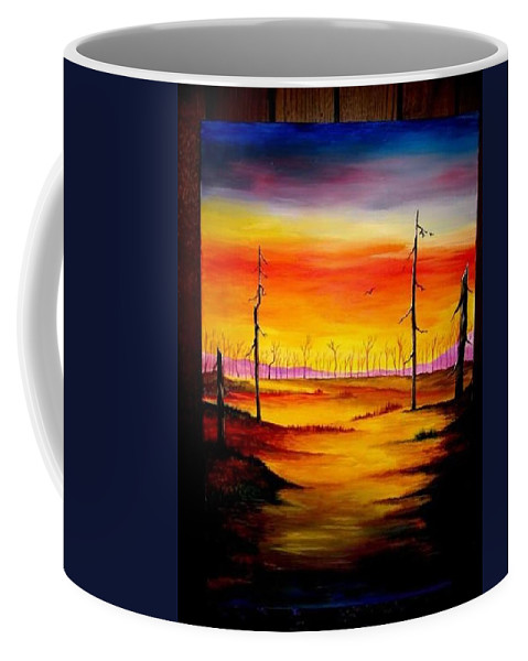 Landscape Coffee Mug featuring the painting Alone by Glory Fraulein Wolfe