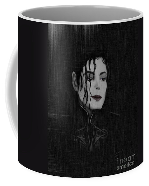 Painting Of Michael Jackson Coffee Mug featuring the painting Alone In The Dark I by Reggie Duffie