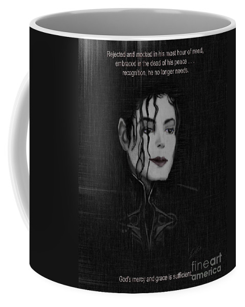 Painting Of Michael Jackson Coffee Mug featuring the painting Alone In The Dark II by Reggie Duffie