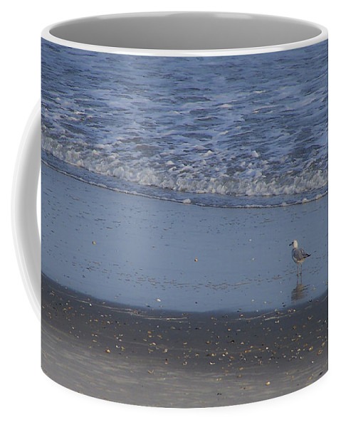 Ocean Coffee Mug featuring the photograph Alone In The Sand by Teresa Mucha